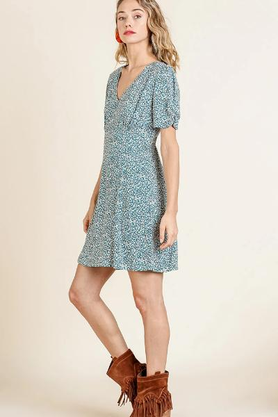 Mini Floral Gathered Sleeve Dress - Free Souls Boutique