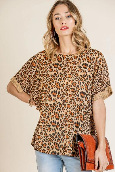Folded Sleeve Mixed Animal Print Top - Free Souls Boutique