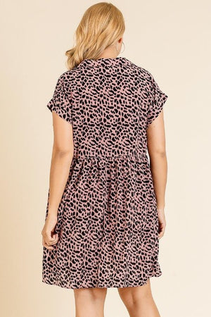 Plus Animal Collar Dress
