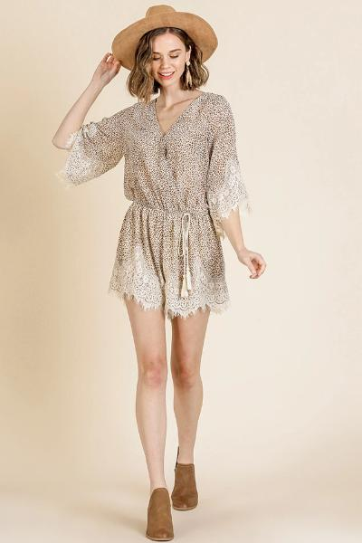 Animal Print Lace Trim Romper