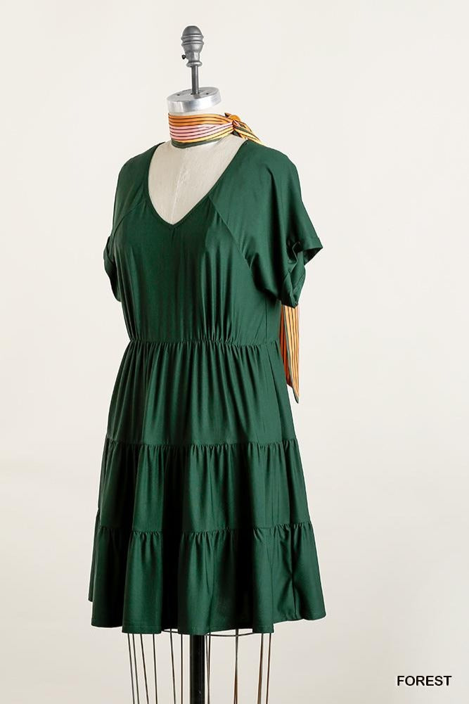Cuff Sleeve Elastic Waist Tiered Dress