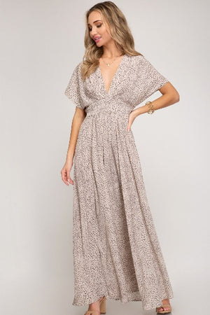 Gathered Waist Printed Maxi Dress