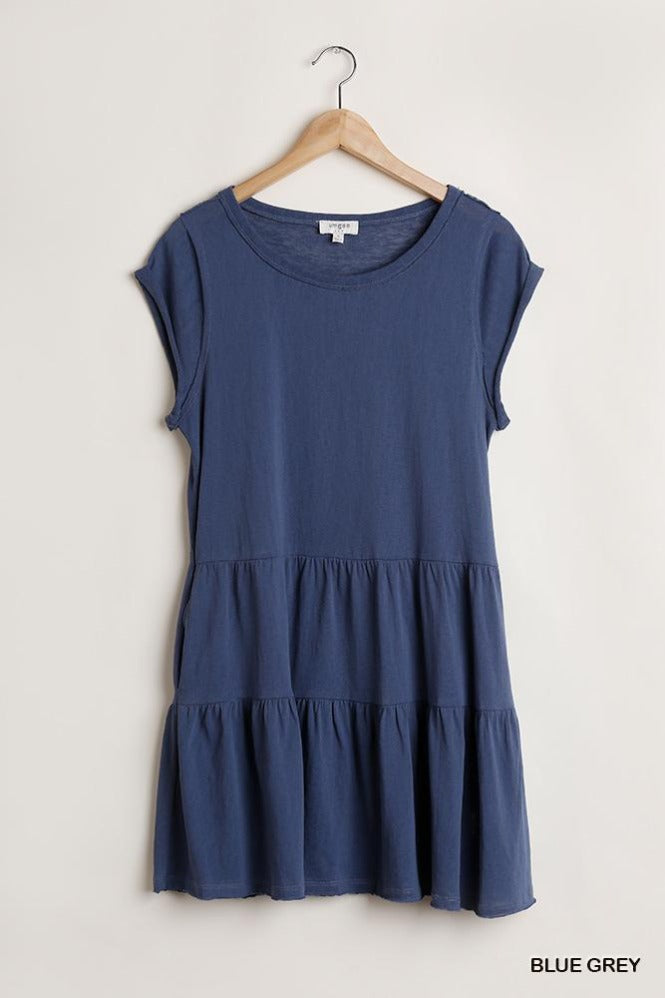Raw Hem Solid Tiered Dress