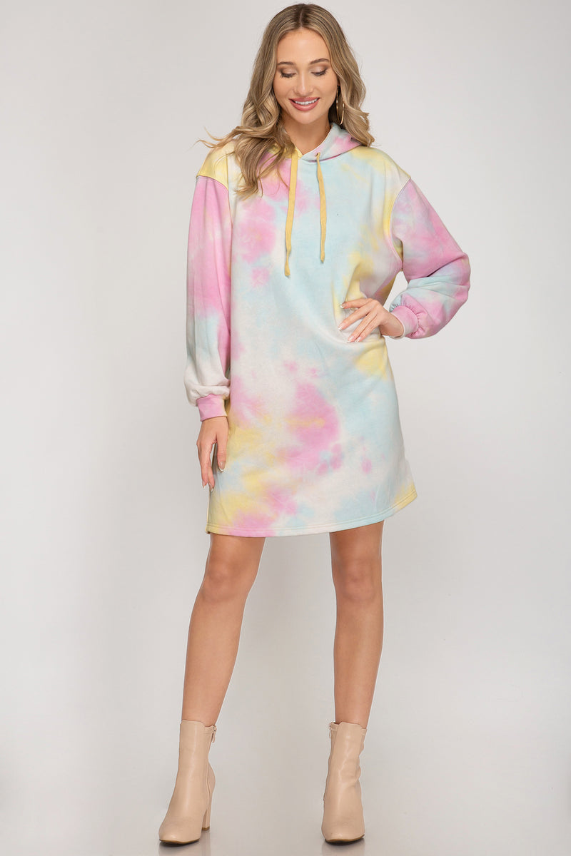 Hooded Tie Dye Terry Knit Dress