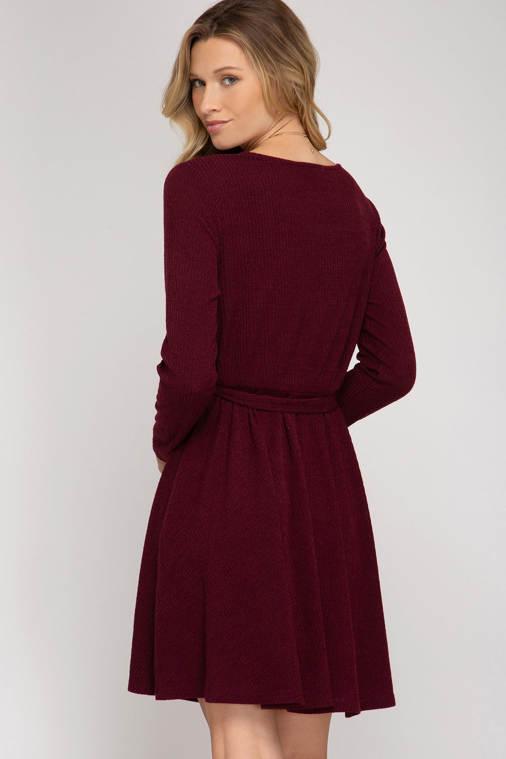 Surplice Ribbed Dress