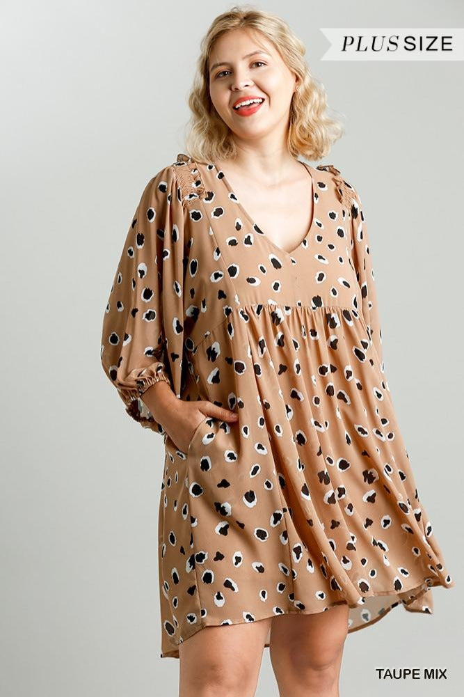 Plus Puff Sleeve Animal Babydoll Dress