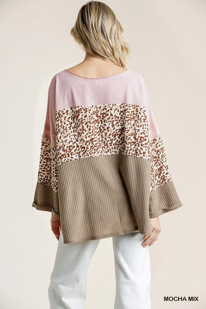 Animal Waffle Colorblock Top