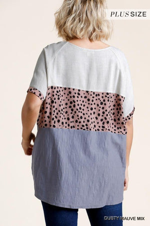 Plus Dalmatian Colorblock Top