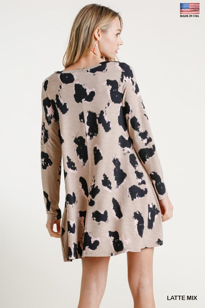 Animal Splotch LS Dress