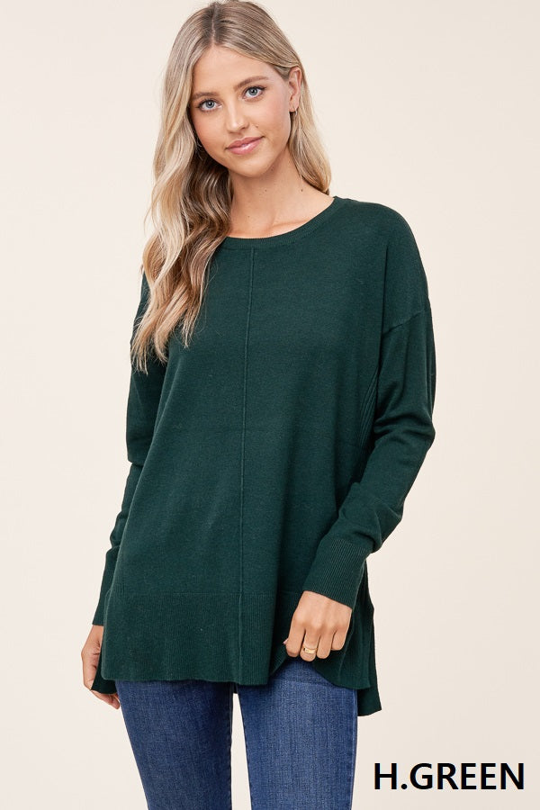 Center Seam Scoop Neck Sweater