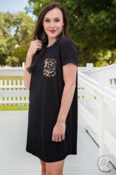 Save The Drama Leopard Pocket Dress - Free Souls Boutique
