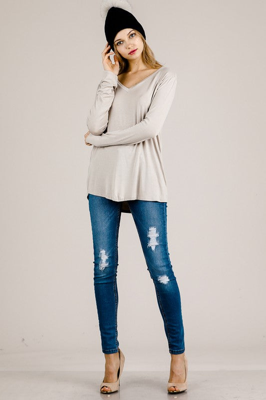 Taupe Long Sleeve V Neck Top
