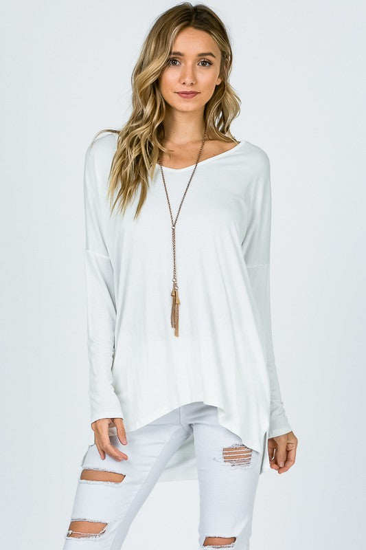 Bamboo Loose V Neck Top - Free Souls Boutique