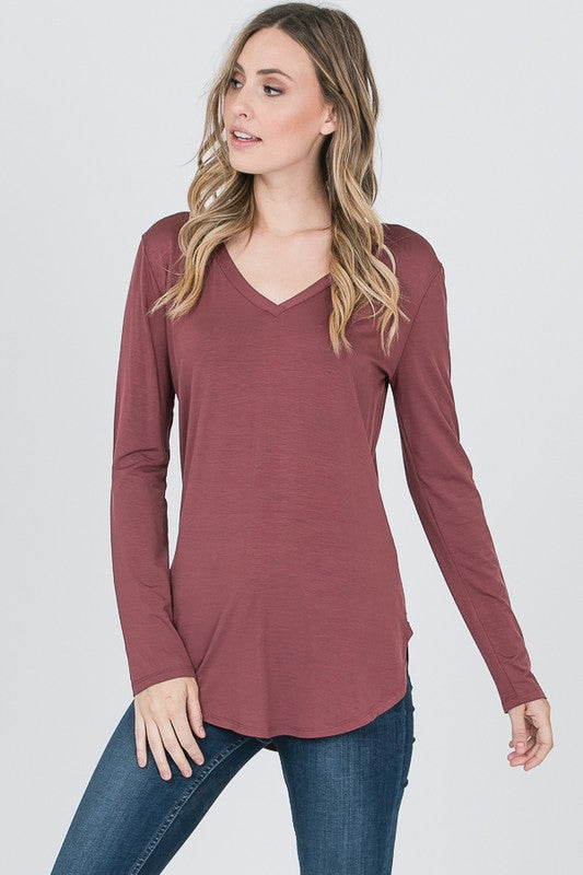 VNeck LS Modal Top - Free Souls Boutique