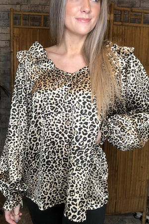 Satin Ruffle Shoulder Leopard Top
