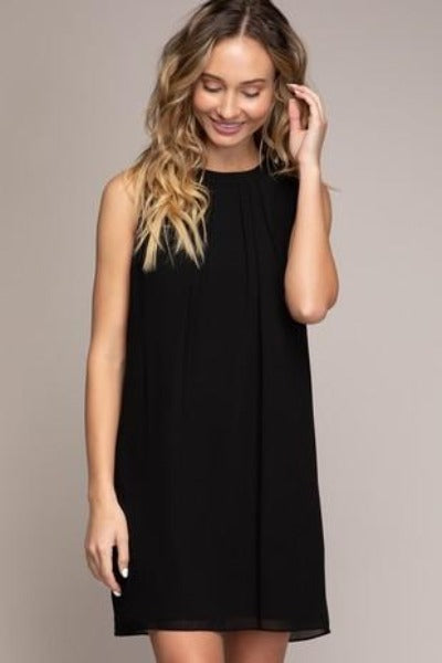 Front Pleat Tie Back Shift Dress