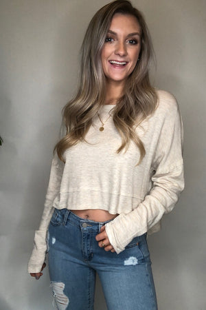 Long Sleeve Solid Crop Top