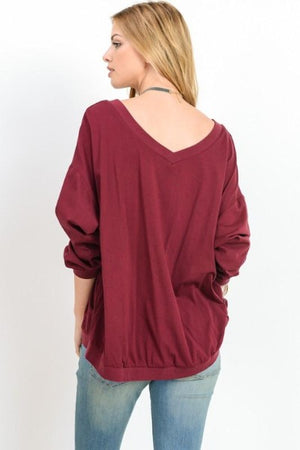 Banded Long Sleeve V-Neck Top