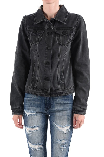 Black Distressed Denim Jacket - Free Souls Boutique