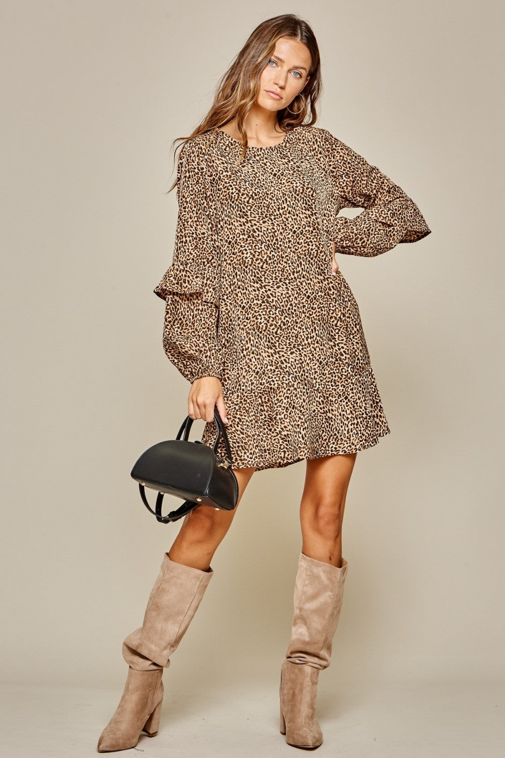Sleeve Detail Animal Shift Dress