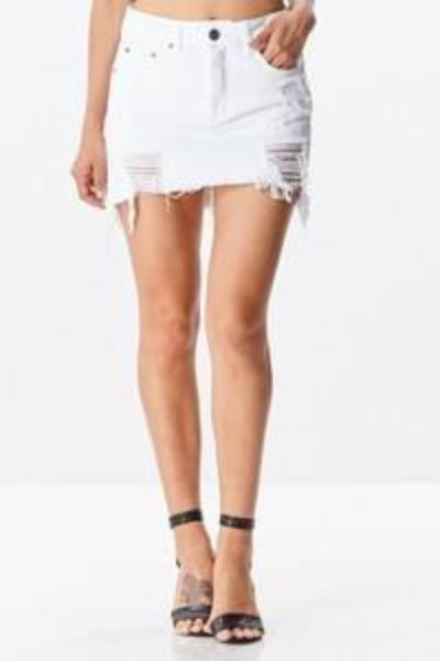 Destroyed White Denim Skirt - Free Souls Boutique