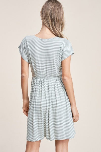 Button Detail Stripe Dress