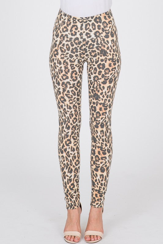 Soft Brushed Hacci Legging Animal Print - Free Souls Boutique