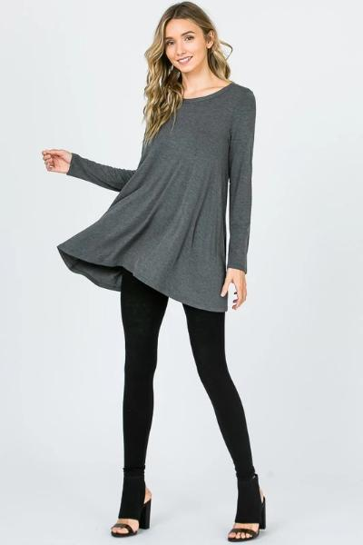 Wassi Heathered Charcoal Modal Tunic - Free Souls Boutique
