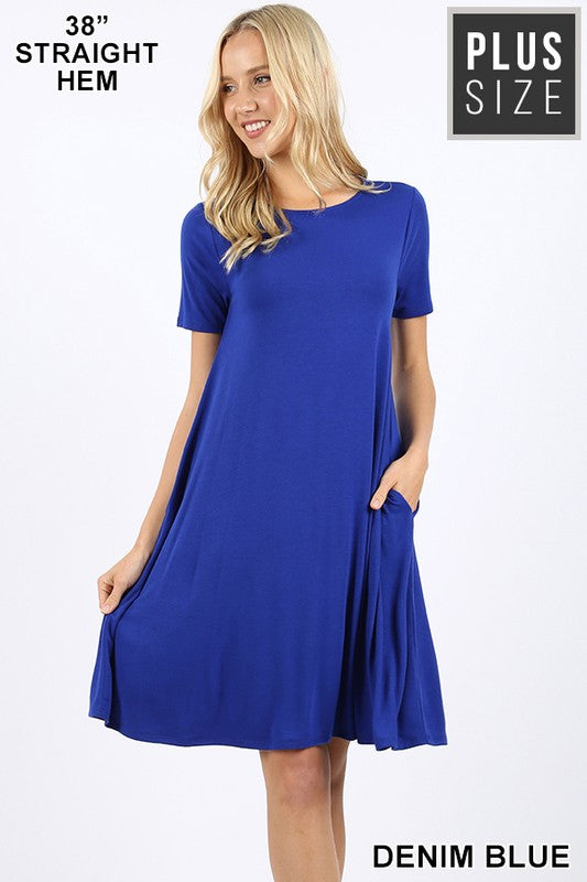 "Plus Zen SS Crew 38"" Swing Dress - Free Souls Boutique"
