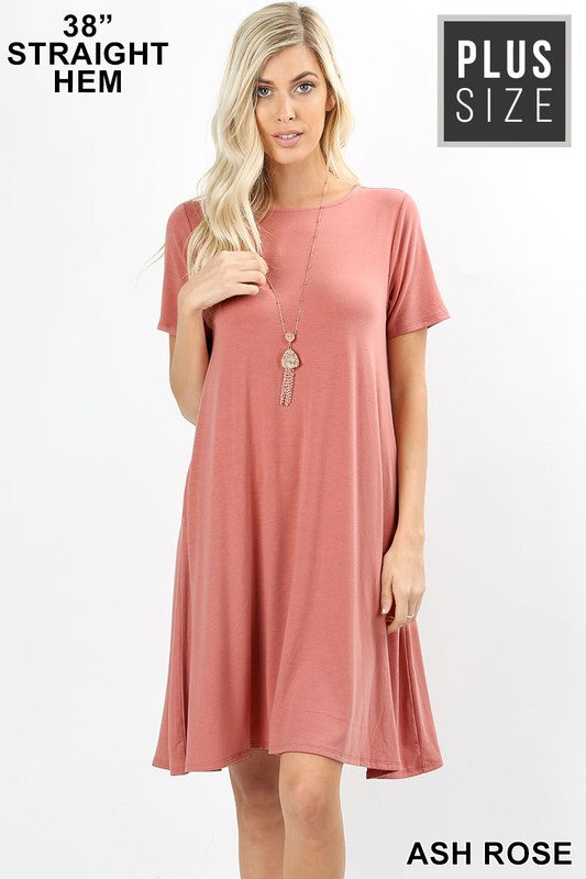 "Plus Zen SS Crew 35"" Swing Dress - Free Souls Boutique"
