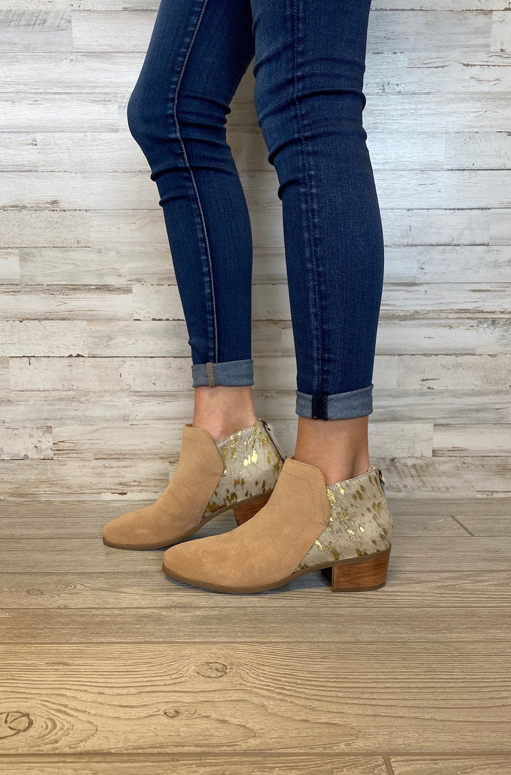 Poppy Natural Suede 2 Tone Booties