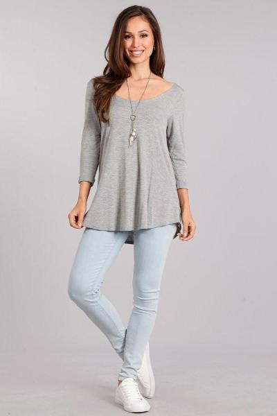 Solid Scoop 3/4 Sleeve Top - Free Souls Boutique