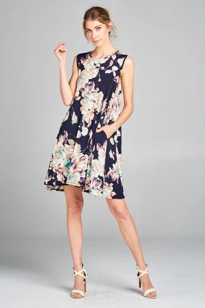 Sleeveless Floral Print Dress - Free Souls Boutique