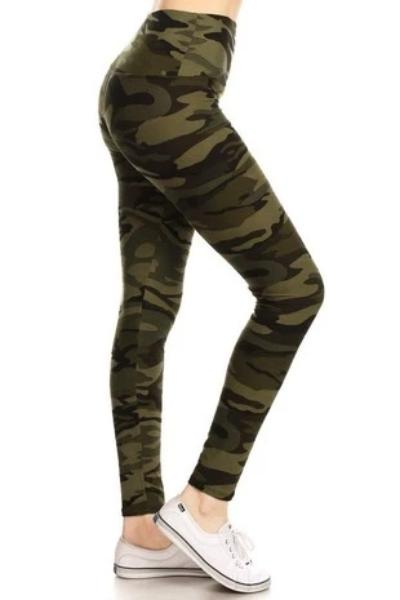 Camo Yoga Waist Leggings - Free Souls Boutique