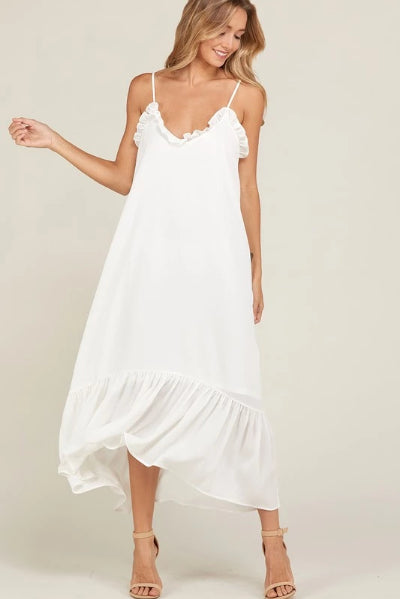 Ruffle Edge Spaghetti Strap Maxi Dress - Free Souls Boutique