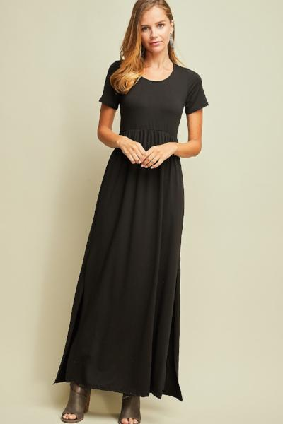 Side Slit Cinched Waist Maxi Dress - Free Souls Boutique