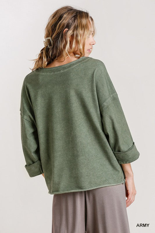 Raw Hem Folded Sleeve Top