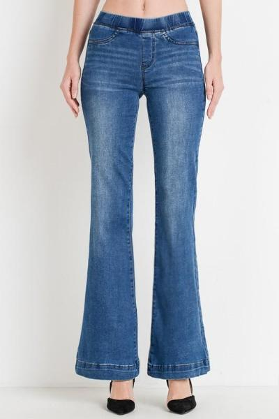 Elastic Waist Flare Jeans - Free Souls Boutique
