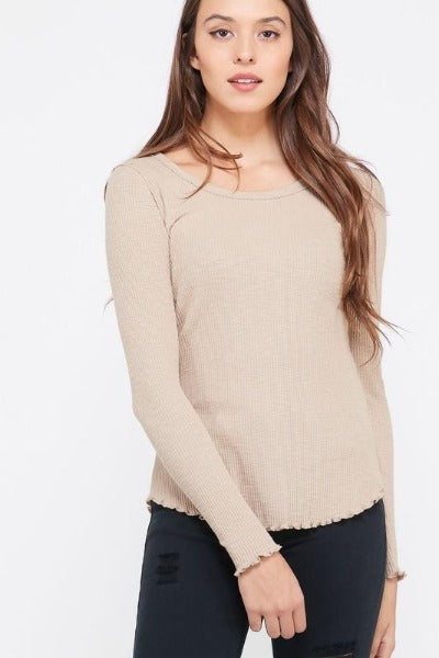 Ribbed Frill Trim LS Top