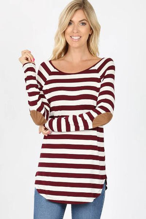 Boat Neck Elbow Patch Striped Top - Free Souls Boutique
