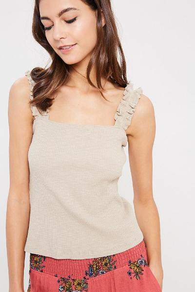 Ruffle Strap Ribbed Top - Free Souls Boutique