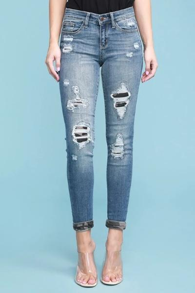Camo Patch Jeans - Free Souls Boutique