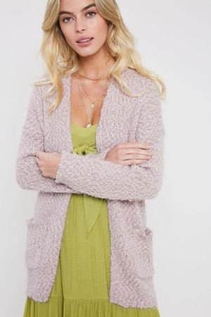 Long Fuzzy Pocket Cardigan