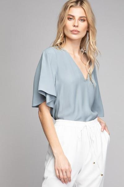 Butterfly Sleeve VNeck Top - Free Souls Boutique