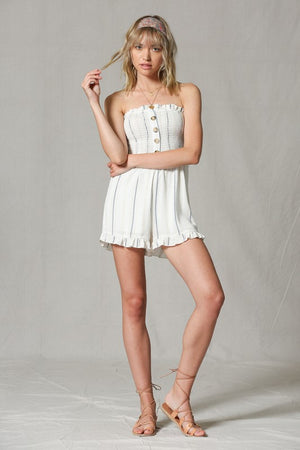 Striped Strapless Smocked Short Romper - Free Souls Boutique