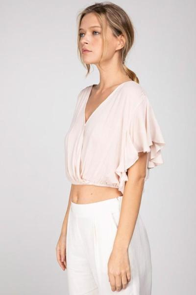 Cropped Gathered Butterfly Sleeve Top - Free Souls Boutique