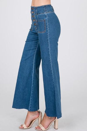 Wide Leg Front Pocket Flare Jeans - Free Souls Boutique