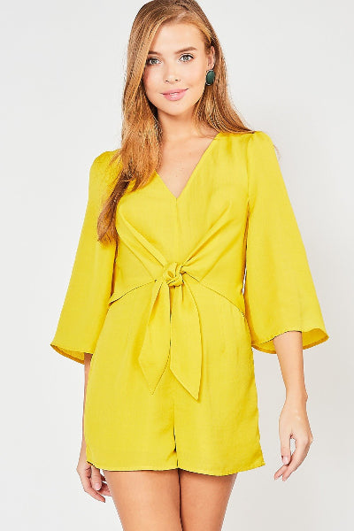 Tie Front Wide Sleeve Romper - Free Souls Boutique