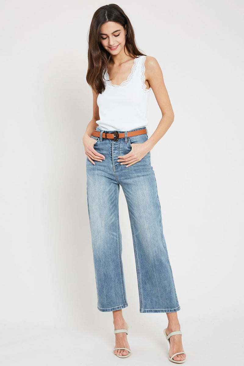 High Waist Cropped Wide Leg Jeans - Free Souls Boutique