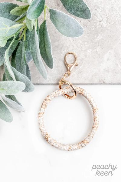 White & Copper Snakeskin Key Ring Bangle Bracelet - Free Souls Boutique